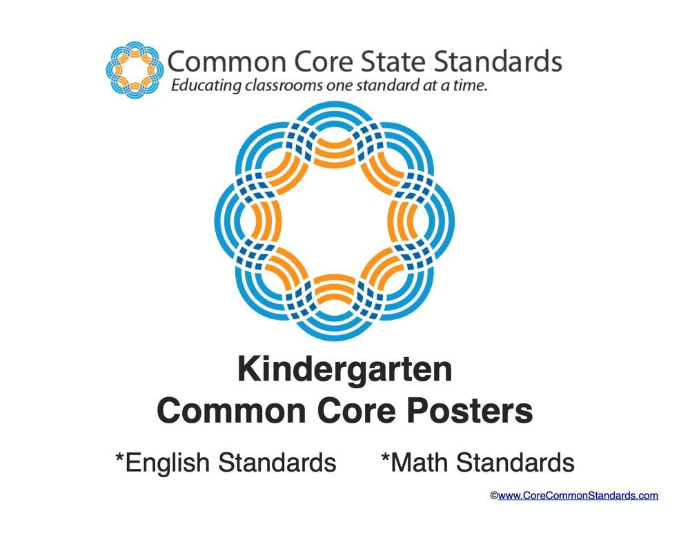 Kindergarten Common Core Standards Posters  Common Core Worksheets  Kindergarten Common Core Posters