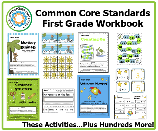 Worksheets 1st Grade Common Core Math Worksheets first grade common core workbook download activities activities