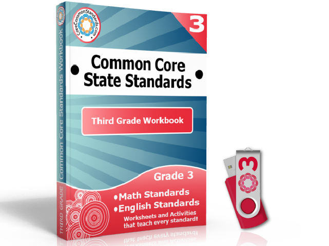 Third Grade Common Core Workbook on USB