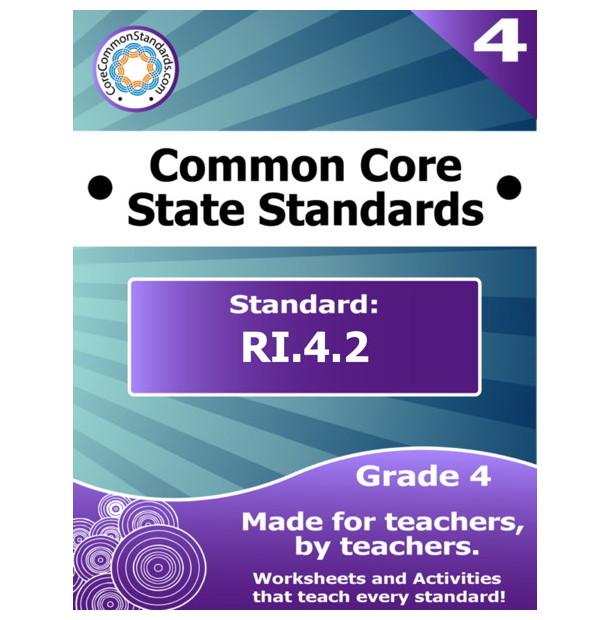 RI.4.2 Fourth Grade Common Core Bundle - Worksheets, Activities ...